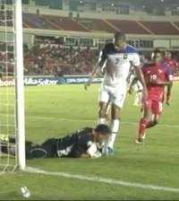 Woodrow West in goal for Belize Jaguars