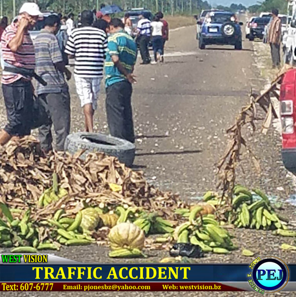 Produce from the Mayor's vehicle strewn over the highway